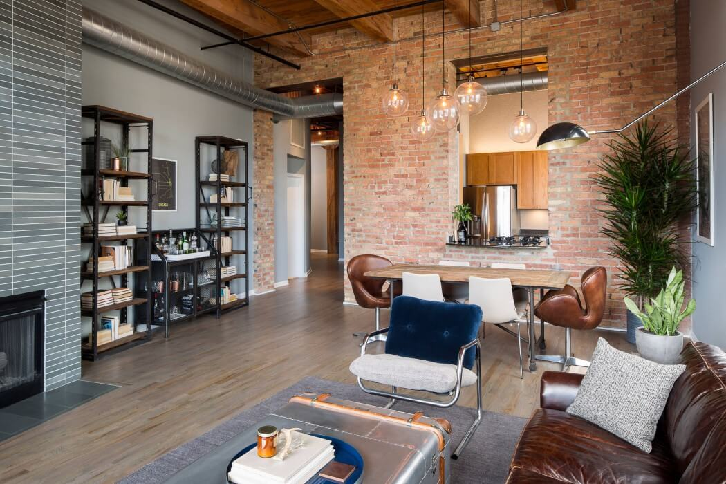Loft industrial em Chicago por Haven Design Studio